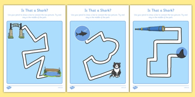Is That a Shark? Pencil Control Path Activity Sheet Pack - is that a shark, shark in the park, Nick Sharratt, storybook, pencil control path, worksheet