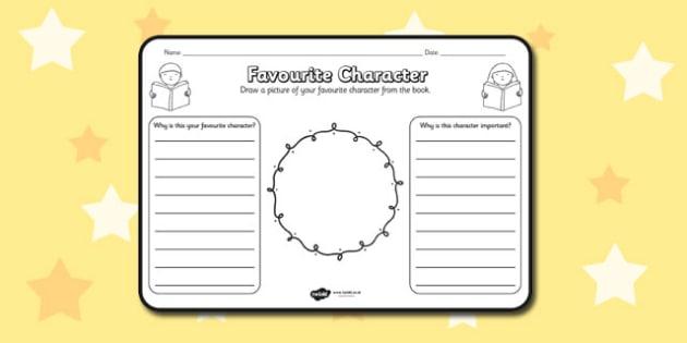 Favourite Character Comprehension Worksheet - worksheets, best