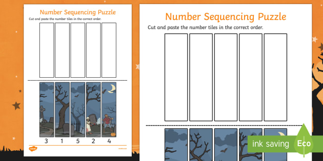 Halloween Number Sequencing Puzzles - Halloween, Number, Sequence