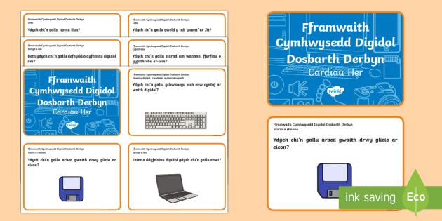 Fframwaith Cymhwysedd Digidol Dosbarth Derbyn Cardiau Her - Fframwaith Cymhwysedd Digidol, Dosbarth Derbyn, Arddangosfeydd Dosbarth, Welsh, Wales.,Welsh