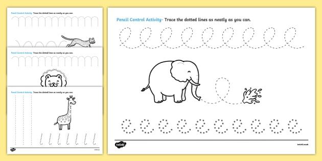 Safari Themed Pencil Control Activity Sheets- safari, on safari, safari pencil control worksheets, safari worksheets, safari letter writing worksheets