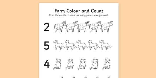 Farm Themed Count and Colour Sheet - colour, count, farm, sheet