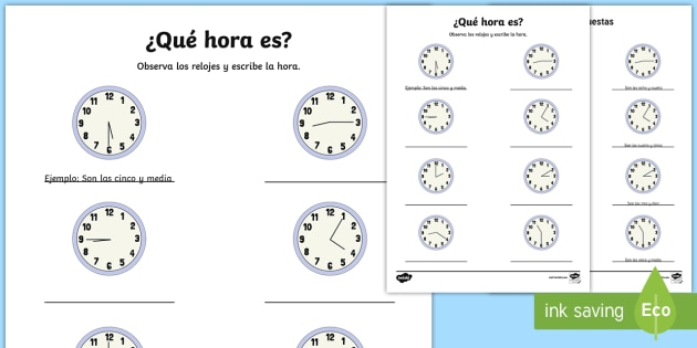 what time is it writing activity sheet spanish spanish ks2. Black Bedroom Furniture Sets. Home Design Ideas