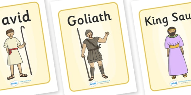 David and Goliath Display Posters - David and Goliath, David, King Saul, Goliath, display, poster, sign, Philistine army, Israelite, sling, stones, sling and stones, death, kill, small, giant, clever