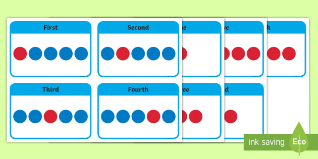Ordinal Number Flashcards - number order, ordering, sorting, sort