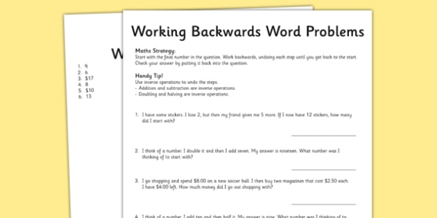 Year 3 Working Backwards Maths Word Problems - australia, worksheet, test skills, NAPLAN, inverse operations, problem solving, reasoning