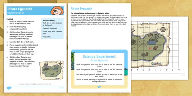 EYFS Pirate Eyepatch Science Experiment and Prompt Card Pack