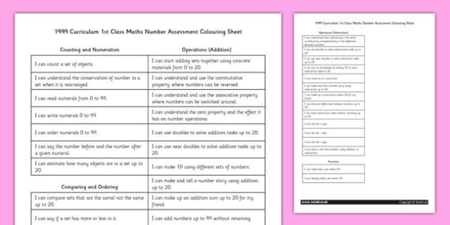 1999 Curriculum 1st Class Maths Number Assessment Targets Colouring Sheet - roi, irish, republic of ireland