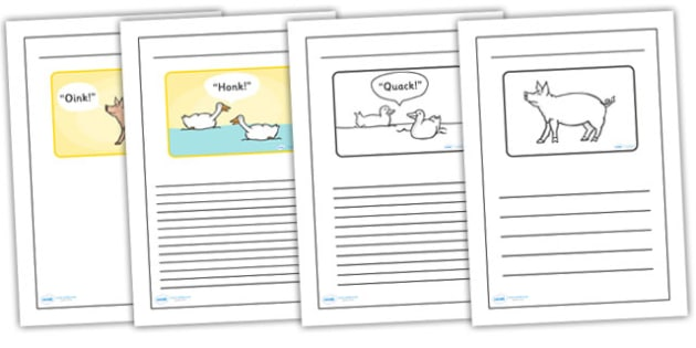 Black and White Lined Writing Frames to Support Teaching on Pig in the Pond - pig in the pond, pig in the pond writing frames, pig in the pond colour and write, writing templates