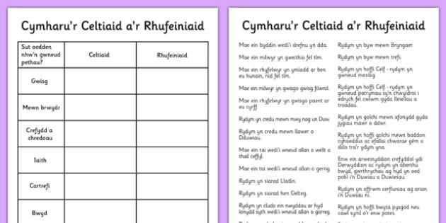 Cymharu'r Celtiaid a'r Rhufeiniaid Welsh - cymraeg, welsh, celtiaid, rhufeiniaid, cymharu, rhufeiniaid
