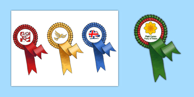 Rosette Template Welsh National Elections 2016 - welsh, cymraeg, Rosette, Welsh Assembly National Election 2016, Labour, Conservatives, Liberal Democrats, Plaid Cymru