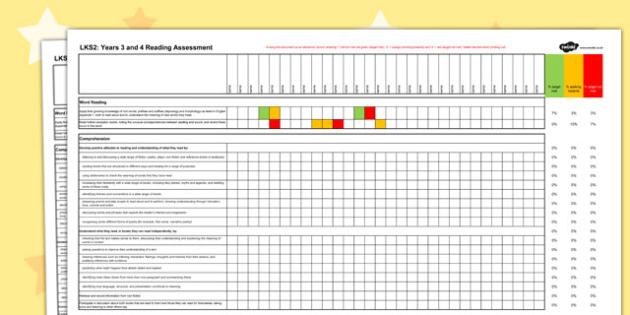 2014 Curriculum LKS2 Years 3 and 4 English Reading Spreadsheet