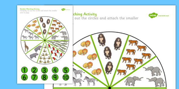 Peg Number Matching Activity Safari Themed - peg, number, matching, match, activity, safari, themed