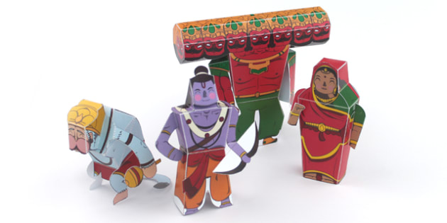 Diwali Paper Toy Character Set - festivals, paper craft, craft