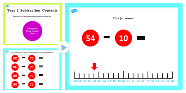 Y2 2 Digit Number Tens Not Crossing 100 Subtract Same Number Line