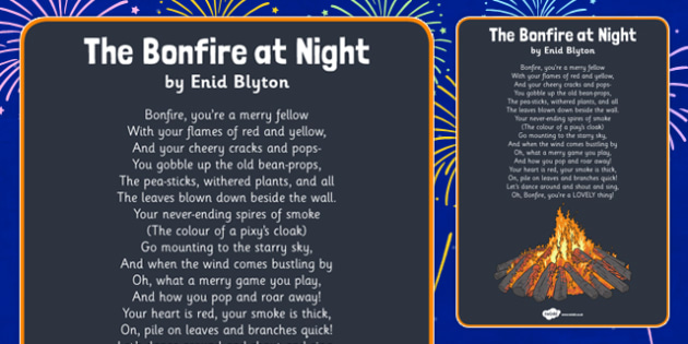 The Bonfire at Night by Enid Blyton Poem - english, recite, reading, poetry, autumn, past
