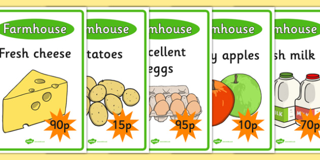 Farm Shop Role Play Display Posters - Farm Shop Role Play, farm shop resources, farm, milk, cheese, eggs, till, animals, meat, cheese, living things, butcher, role play, display, poster