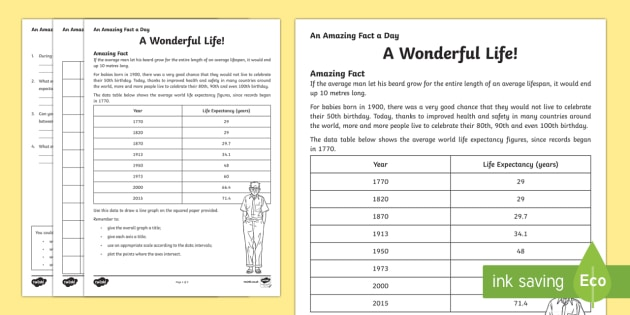A Wonderful Life Activity Sheet - Amazing Fact Of The Day, activity sheets, powerpoint, starter, morning activity, December, data, ana