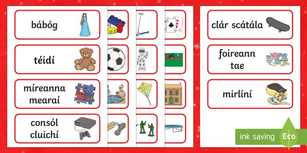 The Toy Shop Word Cards Gaeilge - An Siopa Bréagán, Irish, toys, bréagán, shopping, siopadóireacht, Christmas, An Nollaig,Irish