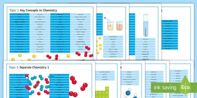 Edexcel Chemistry Word Mats Topics 1-9 - Word Mat, edexcel, chemistry, topics, pack,