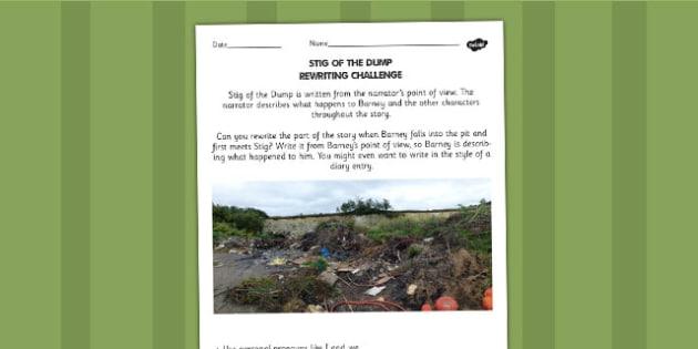 Stig of the Dump Rewriting Challenge Activity - activity, sheet