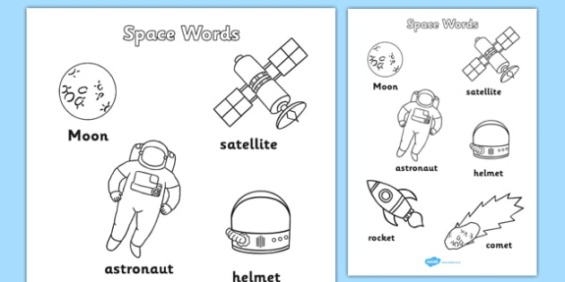 Space Words Colouring Sheets - space, words, colouring, sheets