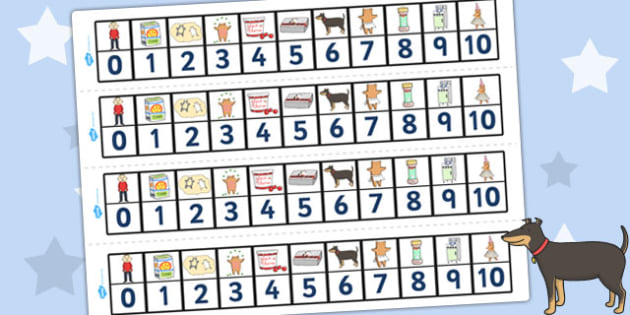 Number Track 0-10 to Support Teaching on Biscuit Bear - Biscuit, Bear, Number, Track