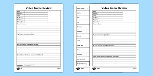 Video Game Review Templates Differentiated - console. playstation, xbox, wii, evaluate, gamer, graphics, reluctant writer