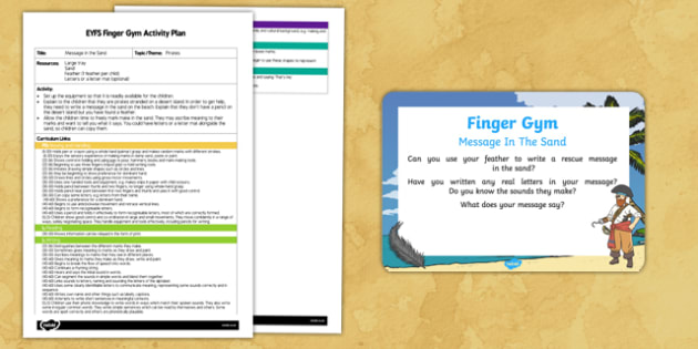 EYFS Message in the Sand Finger Gym Plan and Prompt Card Pack