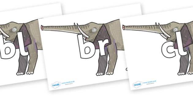 Initial Letter Blends on Elephant to Support Teaching on The Bad Tempered Ladybird - Initial Letters, initial letter, letter blend, letter blends, consonant, consonants, digraph, trigraph, literacy, alphabet, letters, foundation stage literacy