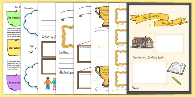 Leavers Yearbook Template Pack - Year 6 Leavers Book