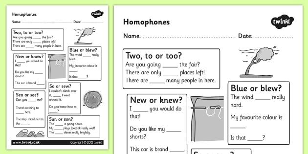 Homophones Worksheet - homophones, homophone worksheet, basic homophones worksheet, word types, ks2 literacy, homophone literacy worksheet, homophone words, homphones