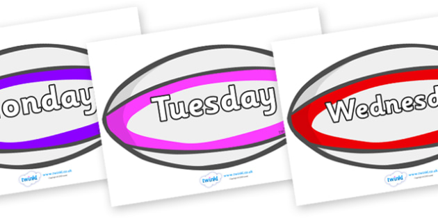 Days of the Week on Rugby Balls - Days of the Week, Weeks poster, week, display, poster, frieze, Days, Day, Monday, Tuesday, Wednesday, Thursday, Friday, Saturday, Sunday