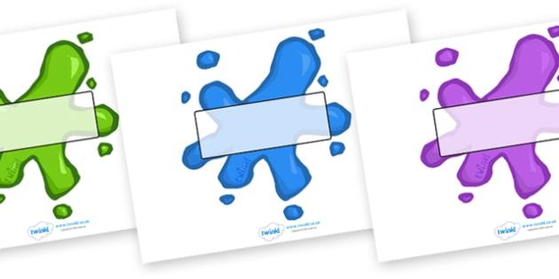 Editable Splats (Small) - Splat, splats, display, editable, label, labels, registration, child name label, printable labels, colour, plaint, splat, splatter