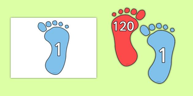 1-120 Footprints - 1-120, footprints, foot, print, numbers, maths, numeracy