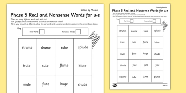 Phase 5 'u-e' Split Digraph Colour by Phoneme Real and Nonsense Words, silent e