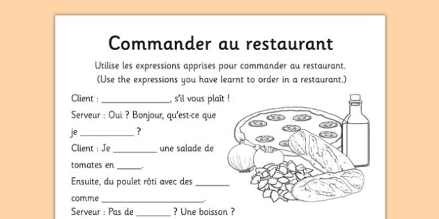 Commander au restaurant French - french, commander, au restaurant, language, restaurant