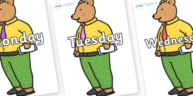 Days of the Week on Mr Bear to Support Teaching on The Jolly Christmas Postman - Days of the Week, Weeks poster, week, display, poster, frieze, Days, Day, Monday, Tuesday, Wednesday, Thursday, Friday, Saturday, Sunday