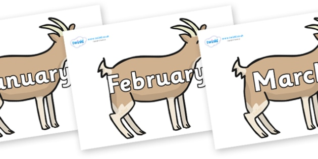 Months of the Year on Goats - Months of the Year, Months poster, Months display, display, poster, frieze, Months, month, January, February, March, April, May, June, July, August, September