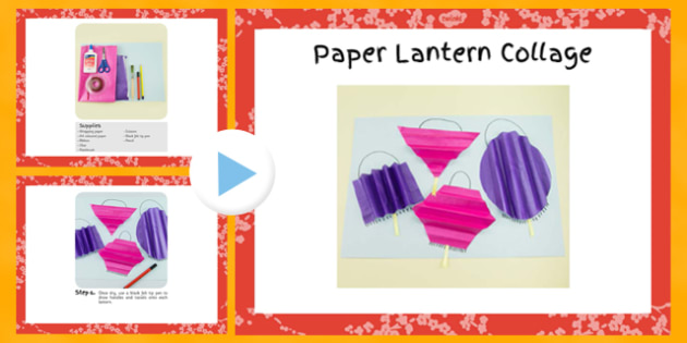 Paper Lantern Collage Craft Instructions PowerPoint - craft, lantern, paper, instructions, collage