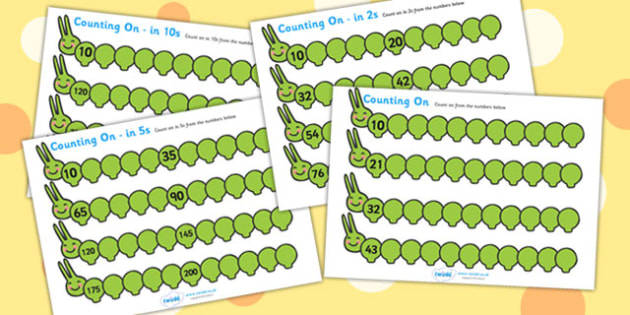 Caterpillar Counting On Worksheet Pack - caterpillar, counting