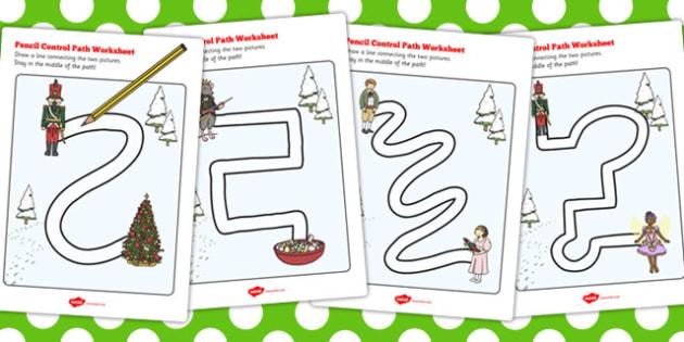 The Nutcracker Pencil Control Path Worksheets - nutcracker, path