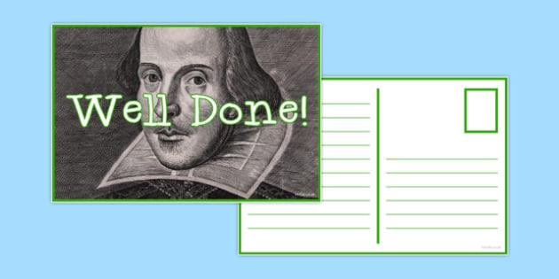 Reward Postcard Shakespeare - reward, postcard, shakespeare, reward postcard, praise