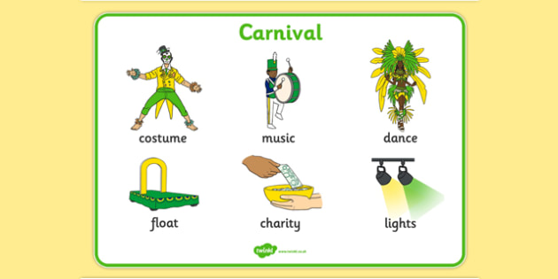 Carnival Word Mat - carnival, circus, word mat, writing aid, mat, costume, float, music, charity, lights