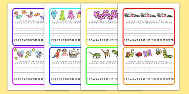 Desk Placemats - desktop placements, alphabet, numbers, name writing, desks, placement,