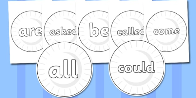 Tricky Words on Circles (Plain) - Tricky words, DfES Letters and Sounds, Letters and sounds, display, words