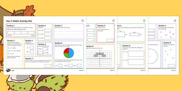 Year 6 Autumn 1 Maths Activity Mats