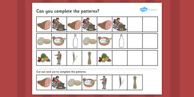 Stone Soup Complete the Pattern Worksheets - stone soup, pattern