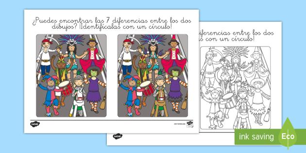 Dibujos de encuentra las diferencias - Carnaval, Carnival,  las diferencias
