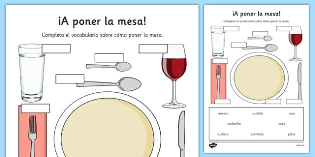 Ficha A poner la mesa Vocabulario - spanish, setting the table, poner la mesa, vocabulario, plato, cuchillo, tenedor, fork, knife, plate, worksheet, restaurante, restaurant